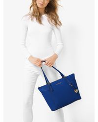 Michael Kors - Blue Jet Set Large Top-zip Leather Tote - Lyst