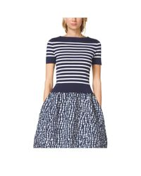 Michael Kors | Blue Striped Compact Cotton Top | Lyst