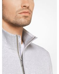 Michael Kors - Gray Cotton Quarter-zip Pullover for Men - Lyst