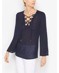 12e424aaa9a Lyst - Michael Kors Lace-up Linen Tunic in Blue