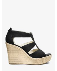 Michael Kors - Black Damita Canvas Espadrille Wedge - Lyst