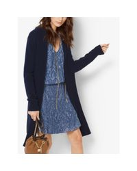 Michael Kors | Blue Merino Wool And Cashmere Ribbed Cardigan | Lyst