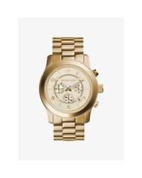 Michael Kors | Metallic Runway Oversized Gold-tone Stainless Steel Watch | Lyst