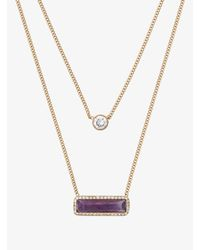 Michael Kors | Metallic Gold-tone Amethyst Double-strand Necklace | Lyst