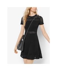 Michael Kors | Black Stretch-crepe Mesh-panel Dress | Lyst