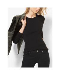 Michael Kors | Black Ribbed Crewneck Sweater | Lyst