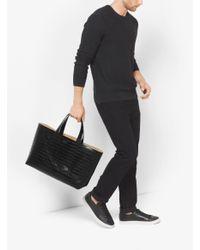 Michael Kors - Black Mason Reversible Embossed-leather Tote for Men - Lyst