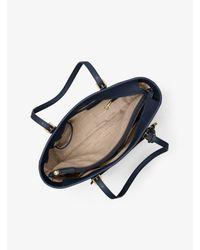 Michael Kors - Blue Jet Set Travel Large Leather Tote - Lyst