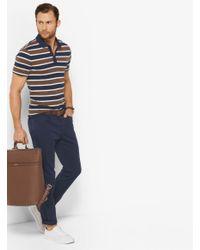 Michael Kors - Blue Striped Cotton Polo Shirt for Men - Lyst