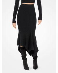 Michael Kors - Black Merino Ribbed Handkerchief Skirt - Lyst