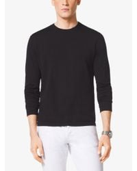 Michael Kors - Black Long-sleeved Cotton Crewneck Sweater for Men - Lyst