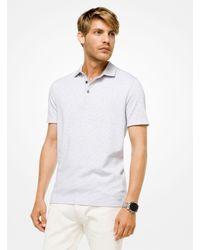 656ed65c0 Lyst - Michael Kors Striped Cotton Polo Shirt in White for Men
