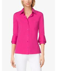 Michael Kors - Pink Double-Cuff Cotton-Poplin Shirt - Lyst
