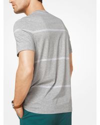 Michael Kors - Gray Striped Cotton T-shirt for Men - Lyst