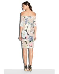 MILLY - Multicolor Paper Floral Print Slim Off The Shoulder Dress - Lyst