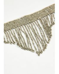 Missguided - Metallic Silver Beaded Drop Tassel Choker Necklace - Lyst
