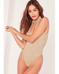Missguided - Blue Nude Faux Suede Choker Neck Bodysuit - Lyst