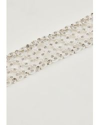 Missguided - Metallic Silver Diamante Thick Choker Necklace - Lyst