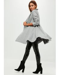 Missguided - Gray Grey Belted Short Wool Skater Coat - Lyst