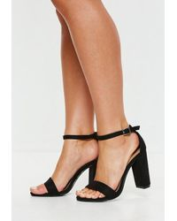 4f139560db8 Missguided Black Block Heel Barely There Heels in Black - Lyst