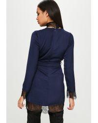 Missguided - Blue Carli Bybel X Navy Satin Lace Wrap Dress - Lyst