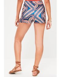 Missguided - Blue High Waisted Printed Shorts - Lyst