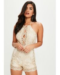 8f8b6e30041 Missguided Gold Sequin Satin Halterneck Romper in Metallic - Lyst