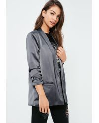 Missguided - Gray Grey Gathered Sleeve Satin Longline Blazer - Lyst