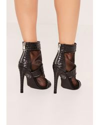 Missguided - Black Mesh Peep Toe Stiletto Ankle Boots - Lyst