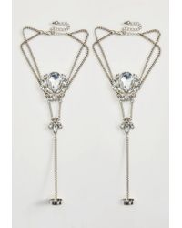 Missguided | Metallic Silver Statement Diamond Hand/ Foot Chain | Lyst