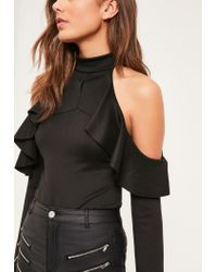 Missguided - Black Frill Detail Cold Shoulder Bodysuit - Lyst