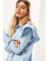 Missguided | Blue Yoke Ruffle Detail Pinstripe Shirt Dress | Lyst