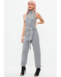 Missguided - Gray Grey Marl High Neck Jogger Jumpsuit - Lyst
