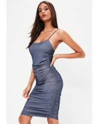 Missguided - Blue Strappy Faux Denim Ruched Midi - Lyst