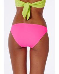 Missguided - Hipster Bikini Bottoms Neon Pink - Lyst