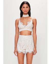 Missguided - Natural Peace + Love Nude Strappy Choker Lace Bralet - Lyst