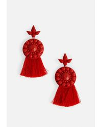 Missguided - Red Dropped Tassel Earrings - Lyst