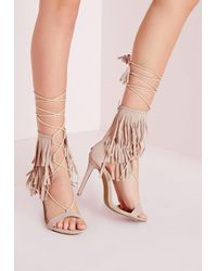 9544b36ca483 Lyst - Missguided Fringe Strap Barely There Heeled Sandals Nude in ...
