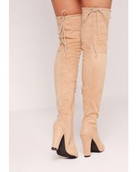 Missguided - Blue Nude Faux Suede Over The Knee Heeled Boots - Lyst