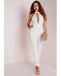 Missguided | Choker Split Front Jumpsuit White | Lyst
