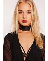 Missguided - Faux Leather Cut Out Choker Necklace Black - Lyst