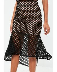Missguided - Tall Black Lace Overlay Fishtail Skirt - Lyst