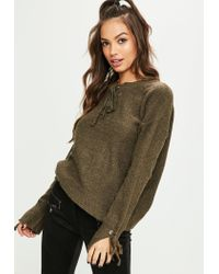 Missguided - Natural Khaki Lace Up Chunky Oversized Sweater - Lyst