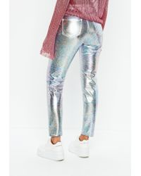 Missguided - Silver Riot High Rise Metallic Petrol Mom Jeans - Lyst