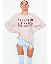 Missguided - Pink Amour Graphic Brushed Sweathsirt - Lyst