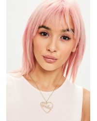 Missguided - Metallic Barbie X Gold Heart Long Pendant Necklace - Lyst