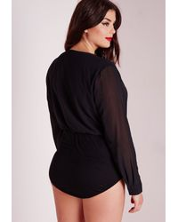 Missguided - Plus Size Chiffon Wrap Bodysuit Black - Lyst