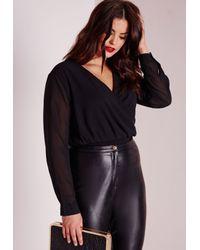 Missguided - Plus Size Chiffon Wrap Bodysuit Black - Lyst
