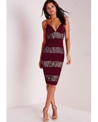 Missguided | Purple Lace Panel Midi Dress Burgundy | Lyst