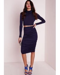 e91e1ed4373fd Missguided Roll Neck Long Sleeve Crop Top Navy in Blue - Lyst